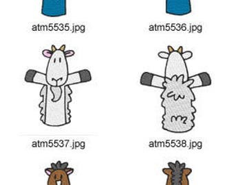 Farm-Finger-Puppets( 14 Machine Embroidery Designs from ATW ) XYZ17D