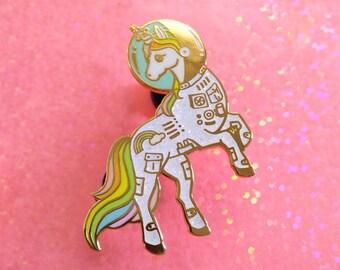 Unicorn enamel pin, Gold glitter lapel pin, astronaut pin, space lover, unicorn space suit, space helmet pin, unicorn lapel pin, rainbow pin