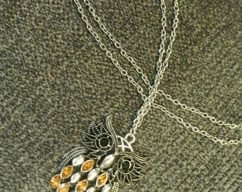 A Silvertone Owl Necklace with Stones