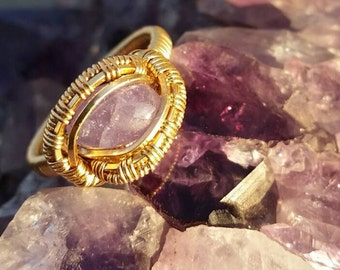 Tanzinite in 14k Goldfill Wire Wrapped Ring size 11
