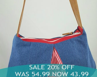 Red White Blue Denim Brown Faux Leather, Hobo HandBag, Large Purse, Denim Handbag, Gifts For Her, Gifts For Mom, Mothers Day Gift