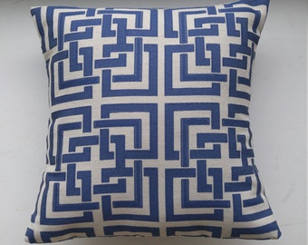 Navy and Grey Pillow Cover/ Geometric Design Dark Blue on Grey Accent Cushion Cover