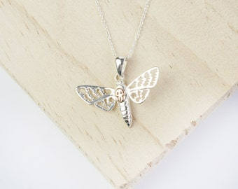 Keilah Silver Death Moth Pendant, Deaths Head Moth Necklace, Deaths Head Moth Pendant, Moth Jewellery, Moth Jewelry, Hannibal, Rose Gold