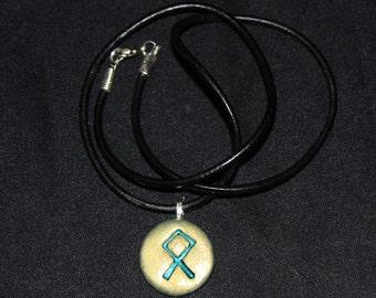 Rune Stone Talisman Amulet And Leather Necklace Othila