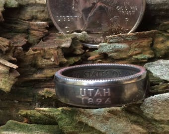 Silver Utah quarter coin ring