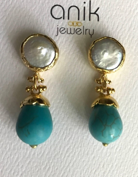 """Pearl and Turquoise Earrings, Bezel Keshi Pearls Setting, 14K Gold Plated, 1.5"""" Long"""