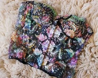 Multicoloured 80s Vintage Fairy Bodice Corset