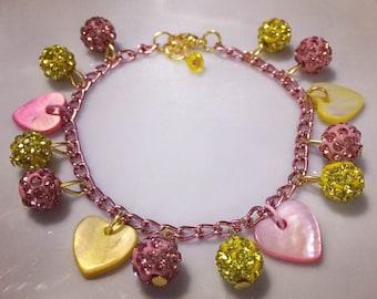 Shell and Czech Crystal Bracelet