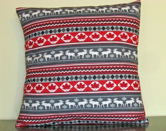 Cushion Cover, Made in Canada, Canadian Gifts, Canada Print, Decorative Pillow Cover, Throw Pillow, Accent Pillow, 18x18 Pillow, Handmade