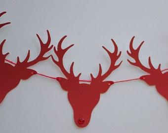 Stag Reindeer Garland - Festive Xmas Bunting