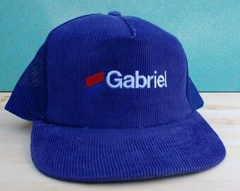 Vintage 80's Blue Corduroy Gabriel Snapback Trucker Mesh Cap