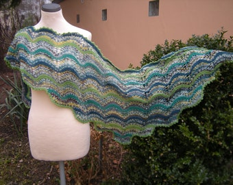 "Scarf ""Waves"" shawl hand knit shawl triangle shawl Green"