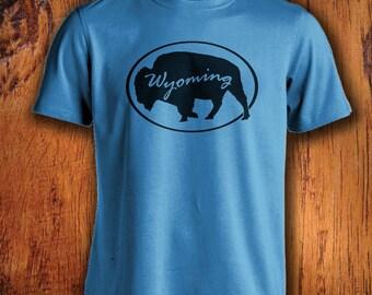 Men's Tshirt Wyoming Shirt Wyoming Bison shirt buffalo shirt wyoming state shirt state shirts gift for him mens wyoming shirt bison tshirt