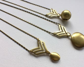 Chevron Locket, Chevron Necklace, Geometric Necklace, Geometric Locket, Modern Lockets, Badge Necklace, Industrial Jewelry, Mothers Day Gift