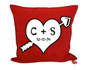 Love Heart Throw Pillow - Valentine Pillow - Valentine Gift - Personalized Valentine Heart and Arrow - Dated Anniversary Gift - Brit and Bee