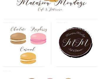 Macaroon logo bakery design, Cake logo, Bakery Branding kit, French macaroon illustration, Watercolor cake logo, Baking branding kit,