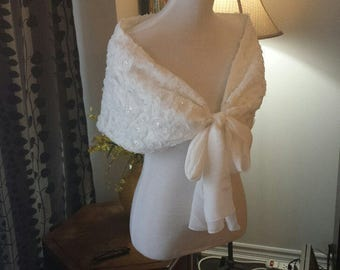3D Rosette Lace Wrap W/Sequins, WHITE, Fully Lined, Party Dress Shawl, (CU13)