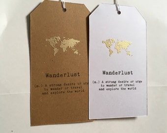 Wanderlust Quote Luggage Tag Bookmark Gold