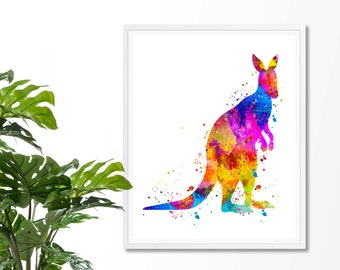 Kangaroo Watercolor Fine Art Print, Poster, Wall Art, Home Decor, Kids Wall Art, Play Room Wall Art, Nursery Wall Art, Archival print