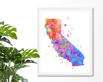 California Watercolor Map #3 Art Print, Poster, Wall Art, Contemporary Art, Modern Wall Decor, Office Decor
