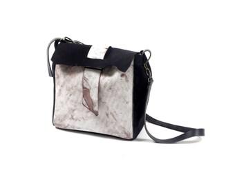 Black crossbody leather bag, black and white leather bag, white leather tote, white leather cross body bag, black and white bag,