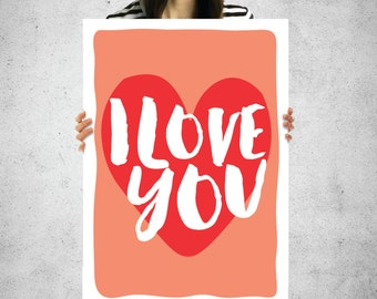 Valentines Day Love Poster - 24x36 I love you poster printable heart art love poster valentine instant download - love gift romantic gift