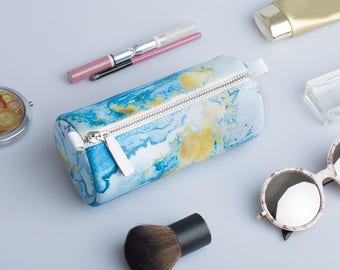 Marble Small Makeup Bag Toiletry Cosmetic Bag Zipper Pouch Cosmetic Make Up Bag Leather Toiletry Leather Travel Pouch Pencil Case Make Purse
