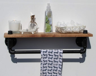 Rustic Bathroom Shelf, Rustic Towel Rack, Rustic Bathroom Towel Rack,  Industrial Towel Rack