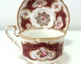 Vintage & Rare Paragon bone china teacup, by Appointment to Her Majesty the Queen, regal, burgundy