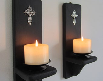 Pair of Church Gothic style matte black wall sconce candle holders with Antique silver cross crucifix decoration , various sizes available