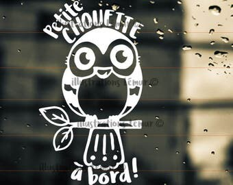baby on board-sticker-car-windshield-owl bird-bird-lettering vinyl