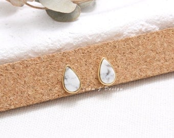 White Howlite Small Teardrop Stud Earrings, Tear Drop Marble Bezel Stud Earrings