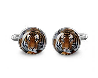 Tiger Cuff Links 16mm Cufflinks Gift for Men Groomsmen Novelty Cuff links Fandom Jewelry