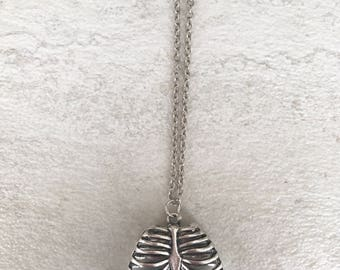 Silver rib cage necklace