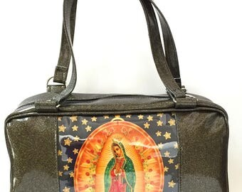 Black Gold Virgin of Guadalupe Business Bag Purse, Sparkle Glitter Auto Upholstery Vinyl, Retro Shoulder Bag Tote