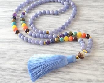 8 mm Mala Beads, Tassel Jewelry, 108 Mala, Gemstone Necklace, Blue Mala, Chakra Jewelry, Yoga Mala, Blue Necklace, Tassel Mala