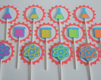 Science Party Cupcake Toppers - Mad Scientist Party Cake Toppers - Science Birthday Cupcake Picks (set of 12)