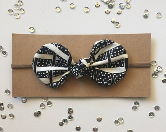 Knotted Fabric Bow with Nylon or Elastic Headband