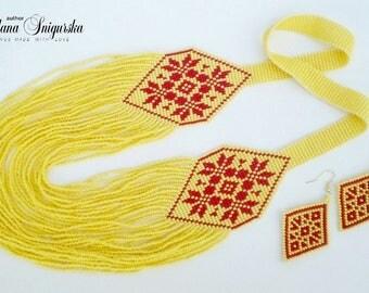 Seed bead necklace Yellow red jewelry Yellow red necklace Yellow red earrings Yellow jewelry set Summer jewelry set Boho Ukrainian jewelry