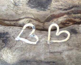 Hearts silver stud earrings
