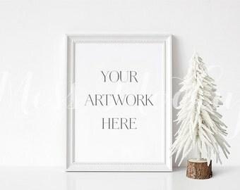 8x10 DIGITAL White Frame Mockup (Portrait) - Stock Photo, Styled Photography, Mock up, prints, illustration, INSTANT DOWNLOAD