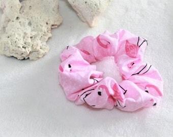 Hair scrunchie, elastic hair scrunchies, pink Flamingo patterned pink scrunchie, accessory for hair, hair clip