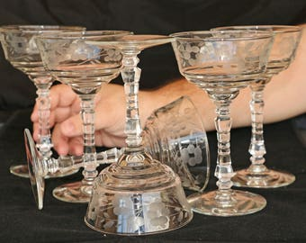 Set of 6 Mid-century Etched Crystal  Martini Stemware
