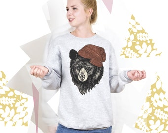 Bear Sweatshirt Bear Sweater Bear Pullover with Bear for Mens Womens Graphic Sweatshirt Graphic Pullover Animal Sweatshirt Animal Jumper 003