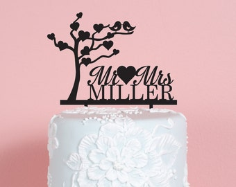 Tree Mr and Mrs Wedding Cake Topper