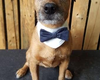 Dog wedding bandana. Dog costume. Dog bow tie. Dog Outfit. Dog  bandana. Dog collar. Dog Wedding Attire. Dog tuxedo. White & Navy Dog Collar
