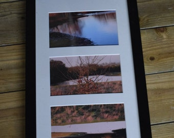 "Framed Autumnal Lake and Tree Triptych - 3 6x4"" Prints, 17x9"" Frame"