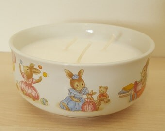 Children's Rabbit Three Wick Bowl Candle with Rain Forest Scented Soy Wax