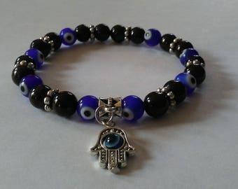 Evil Eye Protection Bracelet ~ Natural Jet Beaded Bracelet ~ Hamsa Hand Charm Bracelet ~ Evil Eye Charm Bracelet ~ Nazar ~ FREE SHIPPING ~