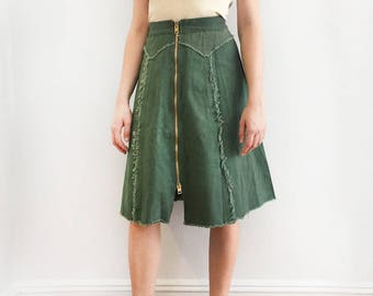 70s Frayed Seam Zip-Front Olive Green Skirt